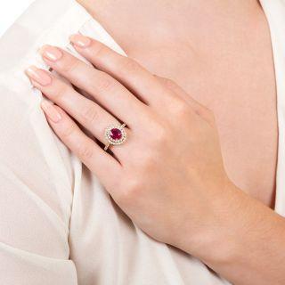 Estate 2.05 Carat Burmese Ruby and Diamond Double Halo Ring - GIA