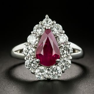 Estate 2.06 Carat Pear Shape Burmese Ruby and Diamond Ring - GIA - 1