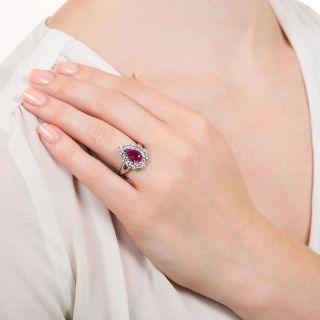 Estate 2.06 Carat Pear Shape Burmese Ruby and Diamond Ring - GIA