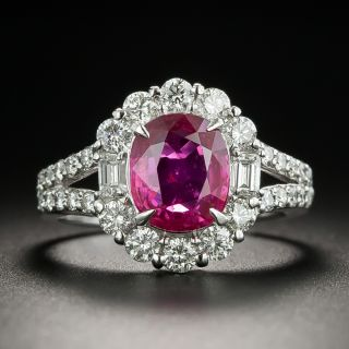 Estate 2.11 Carat No-Head Ruby and Diamond Halo Ring - AIGS - 2