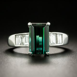 Estate 2.16 Carat Green Tourmaline and Diamond Ring - 1