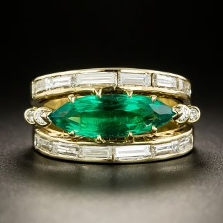 Estate  2.16 Carat Marquise Emerald Diamond Ring by J.M.P. Doria - 2