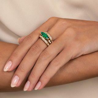 Estate  2.16 Carat Marquise Emerald Diamond Ring by J.M.P. Doria