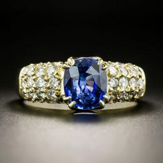 Estate 2.20 Carat Ceylon Sapphire and Pavé Diamond Ring - 2