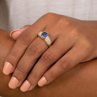 Estate 2.20 Carat Ceylon Sapphire and Pavé Diamond Ring