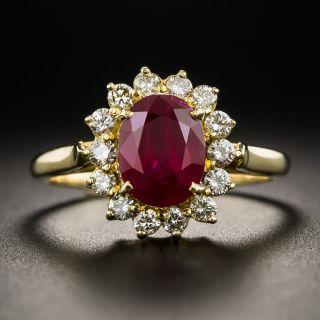 Estate 2.20 Carats Burma Ruby Diamond Halo Ring - 1