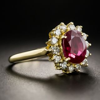 Estate 2.20 Carats Burma Ruby Diamond Halo Ring
