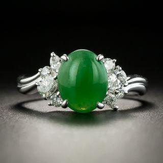 Estate 2.21 Carat Burmese Jade and Diamond Ring - 1