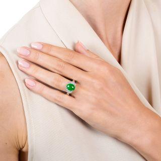 Estate 2.21 Carat Burmese Jade and Diamond Ring