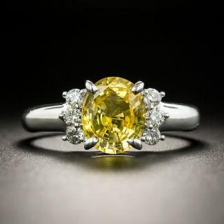 Estate 2.22 Carat No-Heat Ceylon Yellow Sapphire and Diamond Ring - 1