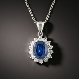 Estate 2.22 Carat Sapphire and Diamond Halo Pendant - 2