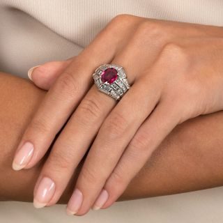Estate 2.24 Carat Thai Ruby Platinum Diamond Ring - GIA