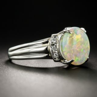 Estate 2.30 Carat Opal Platinum Diamond Ring