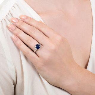 Estate 2.30 Carat Square Emerald-Cut Sapphire Diamond Platinum Ring