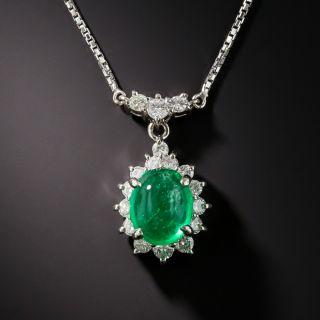 Estate 2.40 Carat Cabochon Emerald Platinum Diamond Pendant - 2