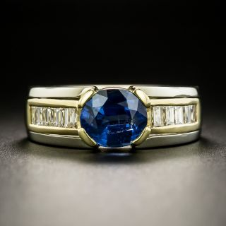 Estate 2.44 Carat Sapphire and Diamond Two-Tone Ring - 2