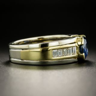 Estate 2.44 Carat Sapphire and Diamond Two-Tone Ring