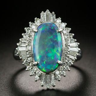 Estate 2.46 Carat Australian Black Opal and Diamond Ring - 1