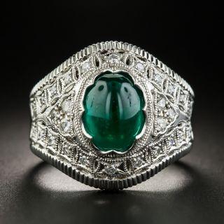 Estate 2.48 Carat Cabochon Emerald and Diamond Ring  - 1