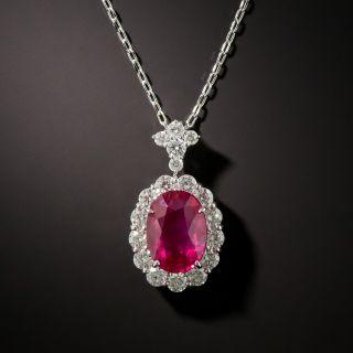 Estate 2.52 Carat Ruby and Diamond Pendant - 2