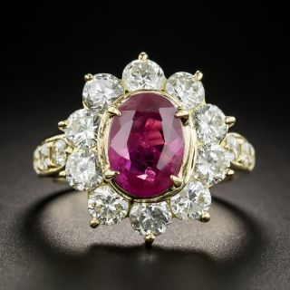 Estate 2.56 Ct. Thai Ruby and Diamond Halo Ring - GIA - 3
