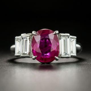 Estate 2.58 Carat Burmese Ruby and Diamond Ring - GIA - 1