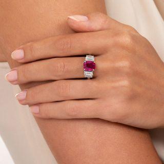 Estate 2.58 Carat Burmese Ruby and Diamond Ring - GIA