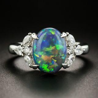 Estate 2.69 Carat Black Opal and Diamond Ring  - 1
