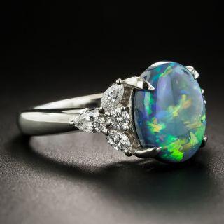 Estate 2.69 Carat Black Opal and Diamond Ring