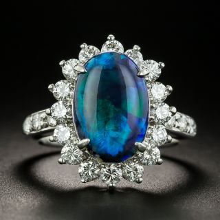 Estate 2.71 Carat Black Opal and Diamond Ring - 1