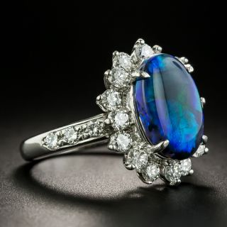 Estate 2.71 Carat Black Opal and Diamond Ring