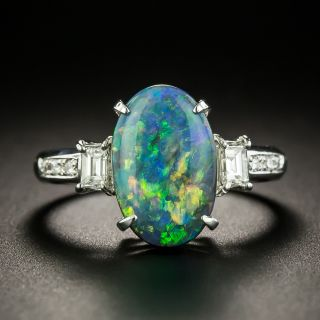 Estate 2.73 Carat Black Opal and Diamond Ring - 1