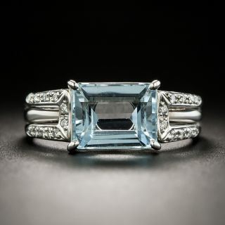Estate 2.77 Carat Aquamarine and Diamond Ring - 1