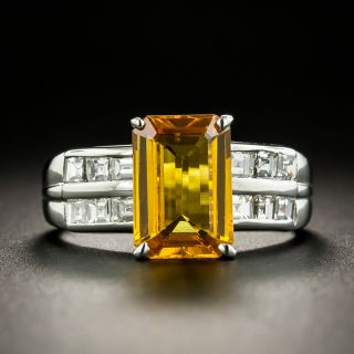 Estate 2.86 Golden Emerald-Cut Sapphire and Diamond Ring - 1