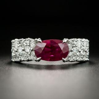 Estate 2.90 Carat Burmese Ruby and Diamond Ring - GIA - 1