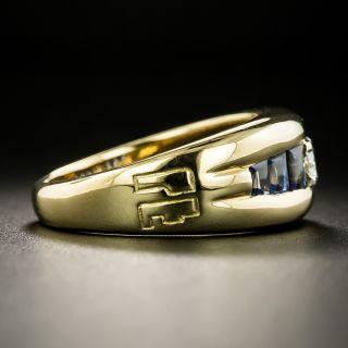Estate .21 Carat Diamond and Buff-Top Sapphire Ring