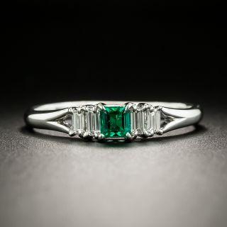 Estate .21 Carat Emerald and Diamond Ring - 3