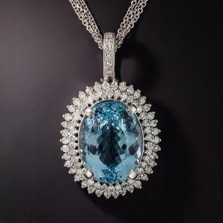 Estate 24 Carat Oval Aquamarine and Diamond Pendant - 2