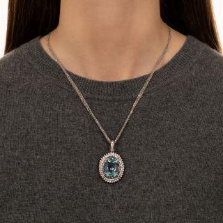 Estate 24 Carat Oval Aquamarine and Diamond Pendant