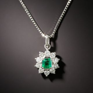 Estate .26 Carat Emerald and Diamond Halo Pendant - 1