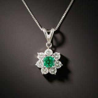 Estate .27 Carat Emerald and Diamond Halo Pendant - 2