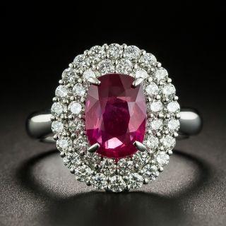 Estate 3.01 Carat No-Heat Ruby and Diamond Ring - GIA - 1