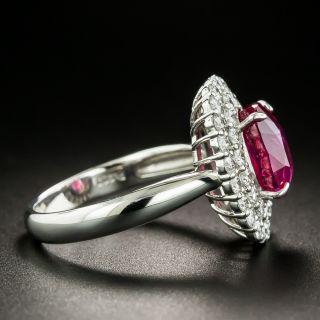 Estate 3.01 Carat No-Heat Ruby and Diamond Ring - GIA