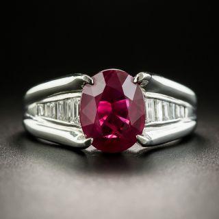 Estate 3.02 Carat Burma Ruby and Diamond Ring - GIA - 1