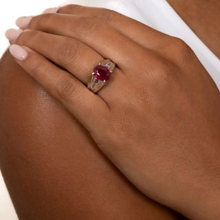 Estate 3.02 Carat Burma Ruby and Diamond Ring - GIA