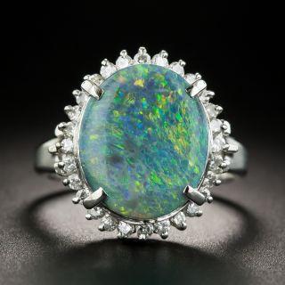Estate 3.17 Carat Black Opal and Diamond Ring - 1