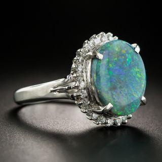 Estate Black Opal Platinum Diamond Ring