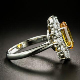 Estate 3.30 Carat Orange Sapphire and Diamond Halo Ring - GIA