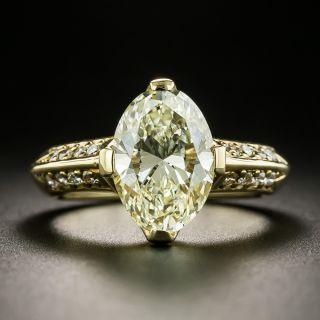 Estate 3.34 Carat  Light Yellow Oval Diamond Ring - GIA - 1