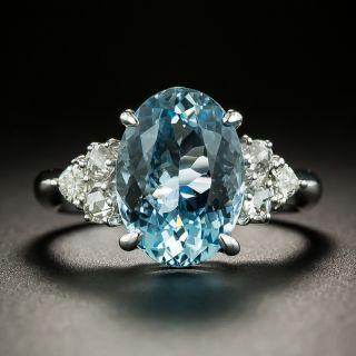Estate 3.38 Carat Oval Aquamarine and Diamond Ring - 3